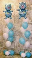 Воздушные шары на рождение мальчику с мишкой