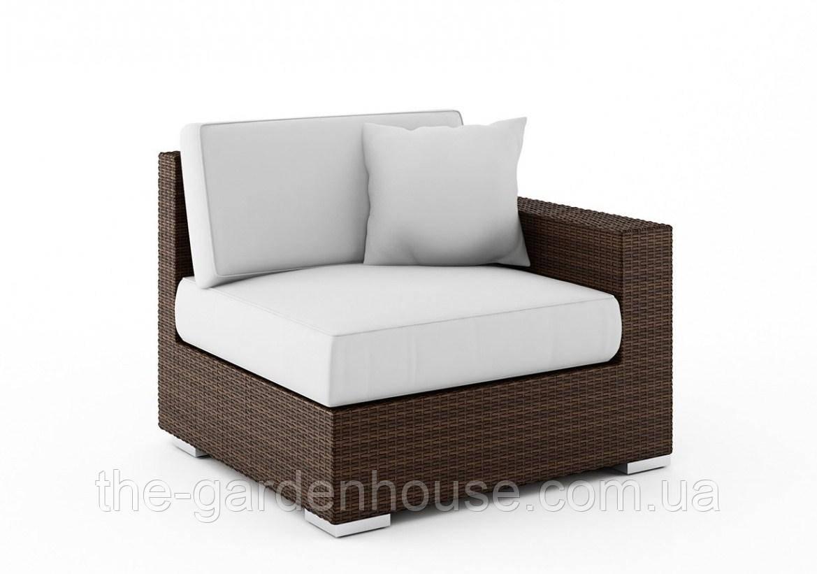 Правый диванный модуль Milano Modern из искусственного ротанга коричневый
