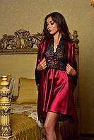 Комплект халат с пеньюаром из атласа с нежным кружевом бордовый Шанталь , фото 1