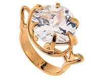 """Кольцо """"Индира"""" с фианитом, покрытое золотом (s016p0a0)"""