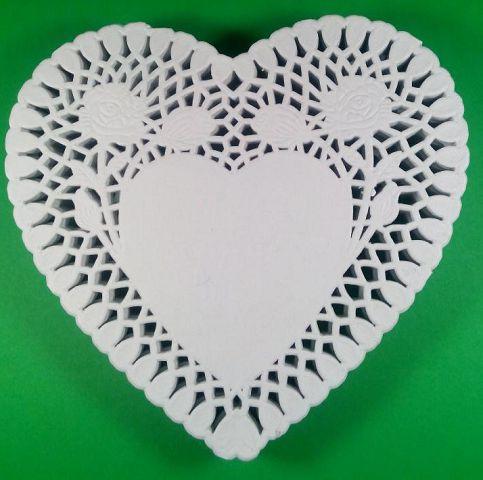 Ажурная салфетка, бумажная, сердце, белая, Ф15см 250шт