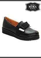 """Женские кожаные туфли """"Бантик"""" (черные) WRIGHT DESIGN № 5994-28"""