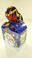 Новогодняя коробка под конфет, Бант синий (25шт)