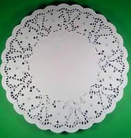 Ажурная салфетка, бумажная, круглая, белая,  Ф33см  250шт