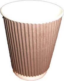 Бумажный стакан с гофрой 250мл Коричневый (25 шт)