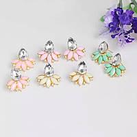 Серьги цветок 3 цвета кристалы камни розовые мятные белые листья прозрачные сережки ретро бренд