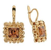 """Серьги """"Меган"""" с кристаллами Swarovski, покрытые золотом (h049p120)"""
