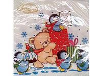 Салфетка красивая ЗЗхЗЗ 20шт  La Fleur Пингвины (1пач)