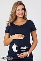 """Трикотажная футболка синяя """"iBaby"""" для беременных и кормящих мам"""