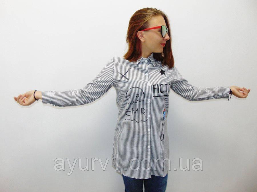 Рубашка-туника в полоску / хлопок