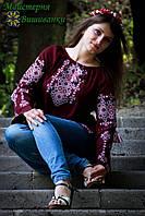 """Вишиванка жіноча  """"Талісман"""" на бордовому шифоні, блуза, машинна вишивка, фото 1"""