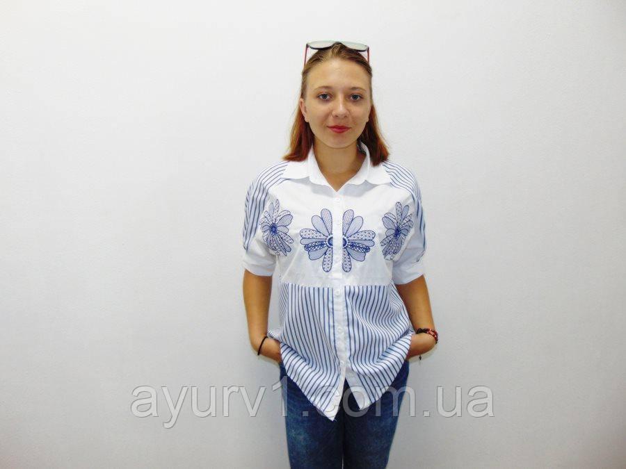 Рубашка белая с вышивкой голубого цвета Индия натуральная ткань