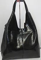 Женская сумка хобо из натуральной кожи чёрного цвета