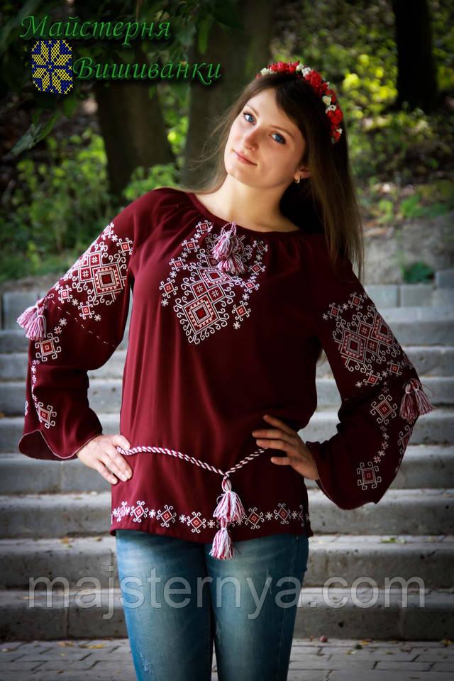 Блуза на бордовому шифоні