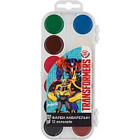 "Краска акварельная ""Transformers"" 12 цветов, ТМ Kite"