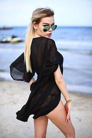 Женская пляжная туника, короткая, шифоновая, разные цвета / женская пляжная накидка, с поясом, новинка 2017 42-44, черный