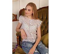Блузка шифоновая, с пуговицами, в горошек / Женская блуза, короткий рукав, модель свободного кроя, летняя
