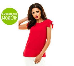Блузка летняя, асимметричный рукав, красная / Женская блуза прямого кроя, разные цвета, 2017