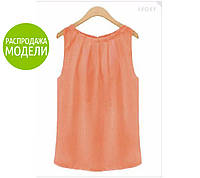 Женская блузка, без рукавов, оранжевая / Блузка женская, прямой крой, разные цвета, новинка 2017-2018