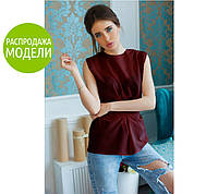 Блузка без рукавов, с круглой горловиной, бордовая / Женская блузка свободного кроя, стильная, новинка