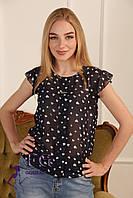 Блузка шифоновая, с коротким рукавом, черная / Женская блузка, свободного кроя, летняяя, новинка 2017-2018