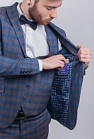 Пиджак мужской в клетку, классический №276F019 (Серо-синий)