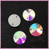 Стразы пришивные Риволи (круг) d 12 мм Crystal AB, стекло