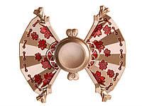 Металлический спиннер с цветочным принтом Веер  Золотой, красный