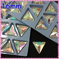 Стразы пришивные Треугольник 16 мм Crystal AB, стекло