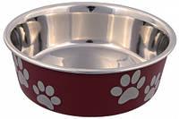 25243 Trixie Bone & Paws миска стальная с пластиковым покрытием, 0,8л/17см