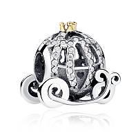 Серебряный шарм Пандора (Pandora) карета золушки