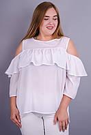 Астра. Стильная блуза большие размеры. Белый.