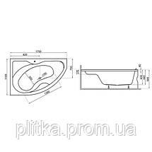 Ванна асимметричная DORA 170x110 R, фото 3