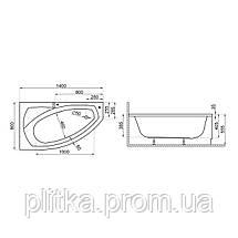 Ванна асимметричная FRIDA1 140x80 R, фото 3