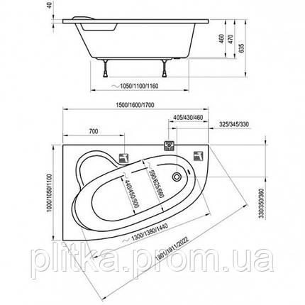 Ванна Ravak Asymmetric 150x100R C451000000, фото 2