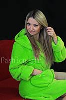 Женский махровый халат для дома, разные цвета / женский халат, теплый, удобный, новинка Салат, 42-46