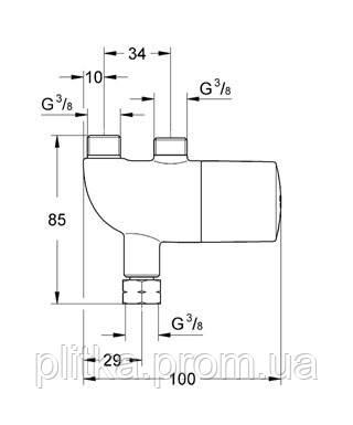 34487000 Grohtherm Micro Термостат для установки под мойкой, возможно нужен 47533000, хром, фото 2