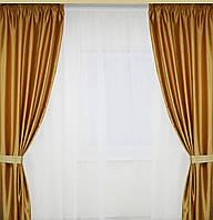 Комплект штор с атласа цвет темное золото