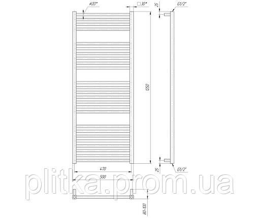 Водяной полотенцесушитель Гера 1250x500/470, фото 2