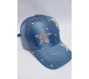 Кепка джинсовая со стразами «Три звезды»