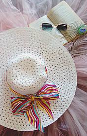 Женская пляжная шляпа, с бантом, обьемная, разные цвета / женская красивая шляпа на пляж, стильная молочный