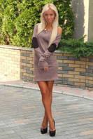 Женское нарядное платье с латками на локтях, капучино / стильное женское платье мини, удобное, длинный рукав капучино, 42-44