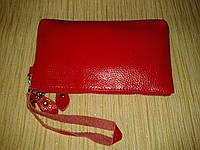 Мини сумочка под мобильный телефон из натуральной кожи красный