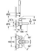 32639000 Quadra Смеситель для ванны + ручной душ Sena (28034000)