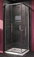 140102 X1 Душевая кабина 80*80 см, раздвижная дверь, вход с угла, Н=1,9 м, профиль хром глянцевый, стекло проз