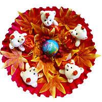 Букет из мягких игрушек Мишки с глобусом