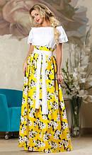 Красивая юбка в пол желтого цвета
