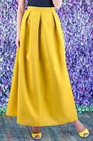 Длинная юбка из габардина желтая