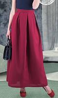 Длинная юбка из габардина марсала