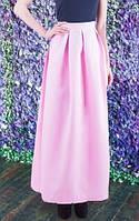 Длинная юбка из габардина розовая